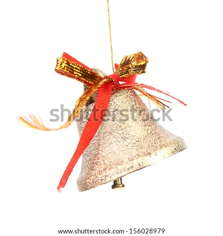 Christmas decoration bell with red ribbon. Isolated on a white background.
