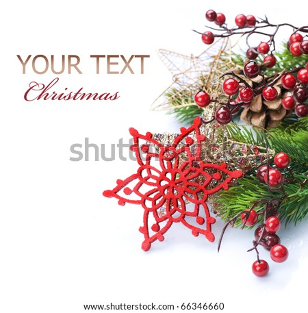 Christmas Decoration Border design isolated on white.With copy space