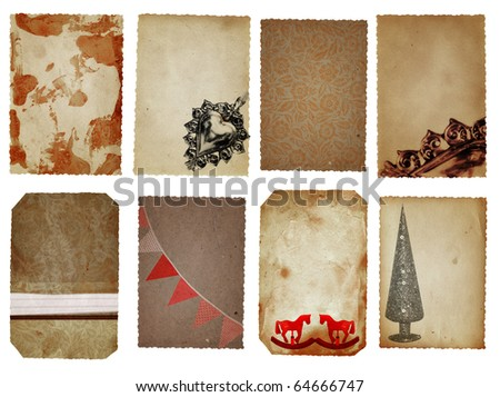 Christmas decoration cards in brown, red and silver with Christmas tree, flags, horses and floral textures.