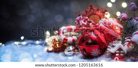 Christmas decoration, Christmas and New Year holidays background, winter season.  #1205163616
