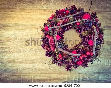 Christmas decoration,Christmas background, Christmas decoration on wood background. You can use for Cards or poster #528417001