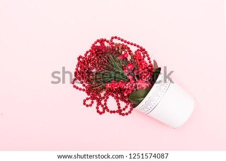 Christmas decoration. Christmas decoration background Christmas tree and holidays ornament #1251574087