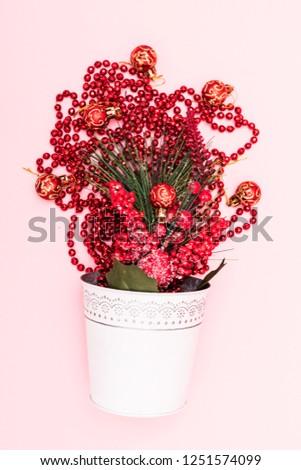 Christmas decoration. Christmas decoration background Christmas tree and holidays ornament #1251574099