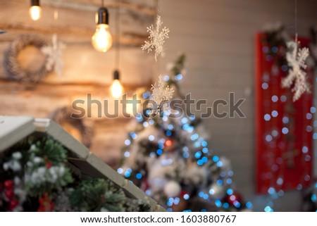 Christmas decoration.Christmas decoration background, Christmas tree and holidays ornament