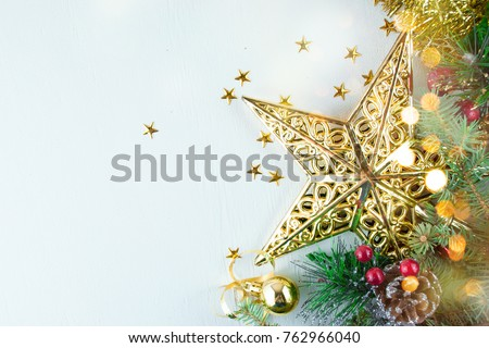 Christmas decoration. Christmas decoration background; Christmas tree and holidays ornament #762966040