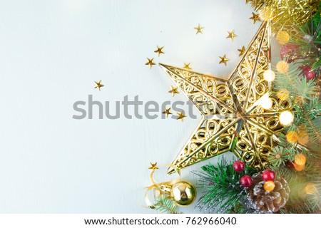 Christmas decoration. Christmas decoration background; Christmas tree and holidays ornament #762966040