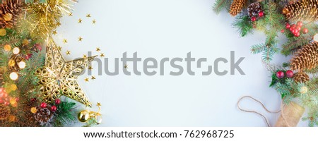 Christmas decoration. Christmas decoration background; Christmas tree and holidays ornament #762968725