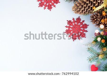 Christmas decoration. Christmas decoration background; Christmas tree and holidays ornament #762994102