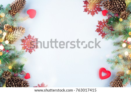 Christmas decoration. Christmas decoration background; Christmas tree and holidays ornament #763017415
