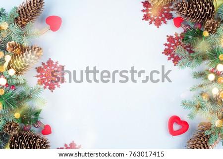 Christmas decoration. Christmas decoration background; Christmas tree and holidays ornament #763017415