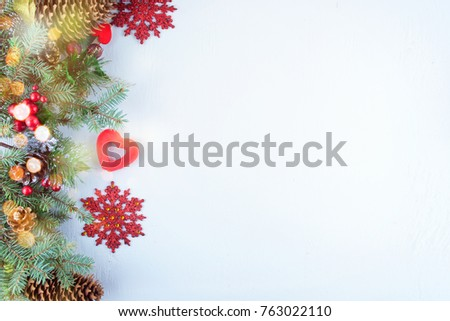 Christmas decoration. Christmas decoration background; Christmas tree and holidays ornament #763022110