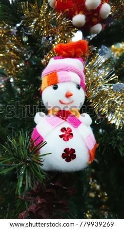 Christmas decoration. Christmas decoration background; Christmas tree and holidays ornament. #779939269