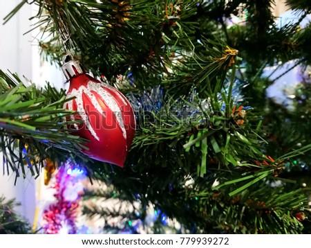 Christmas decoration. Christmas decoration background; Christmas tree and holidays ornament. #779939272