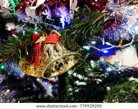 Christmas decoration. Christmas decoration background; Christmas tree and holidays ornament. #779939290