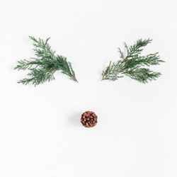 Christmas decoration. Christmas deer made of pine branches and pine cone on white background. Flat lay, top view, square