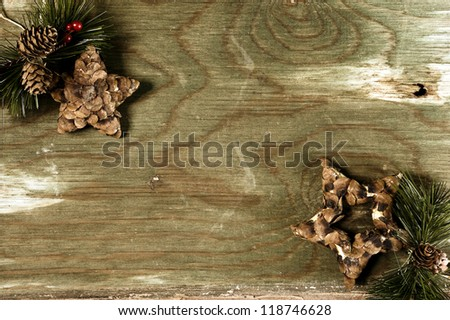 Christmas decoration Christmas items on an old wooden surface. This composition is for festive free writing space