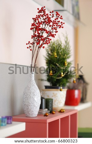 Room Decorations on Christmas Decoration Close Up In A Living Room Stock Photo 66800323