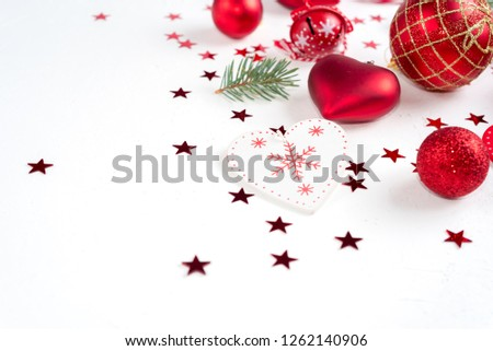Christmas decoration collection: hearts, branches, Christmas candy, Christmas tree, balls, angel, bell, top view #1262140906