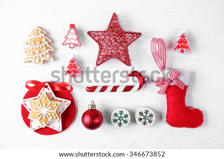 Christmas decoration collection on wooden table top view #346673852
