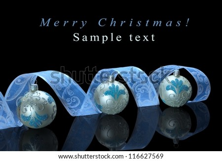Christmas decoration composition isolated on black