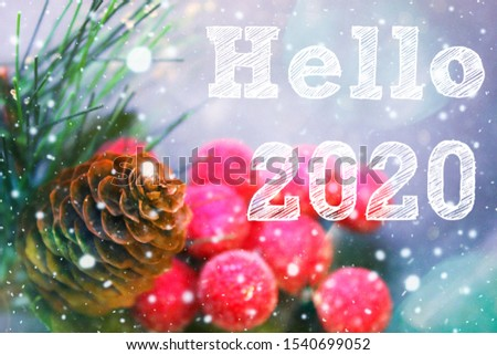 Christmas Decoration, fir cone and branch, Text Hello 2020. Copy space. New year greetings, greeting card.