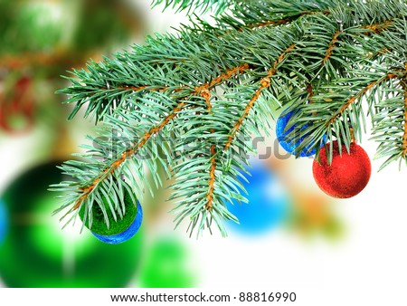 Christmas decoration-glass  ball on fir branches.Isolated #88816990