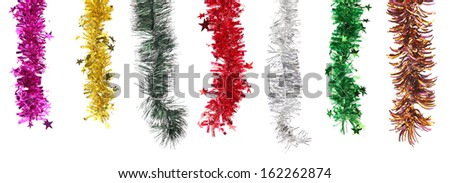 Christmas decoration in row. Isolated on a white background.