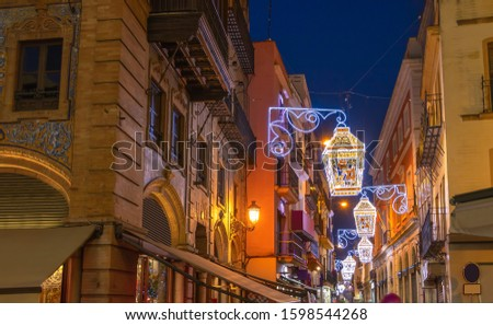Christmas decoration in Sierpes street, Seville, Andalusia, Spain Zdjęcia stock ©