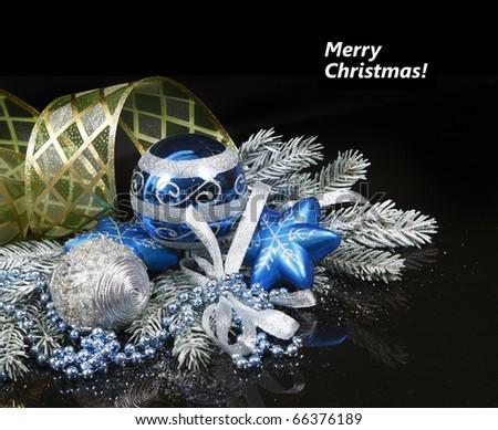Christmas Decoration isolated on black background (shallow DoF)