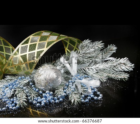 Christmas Decoration isolated on black background (shallow DoF)