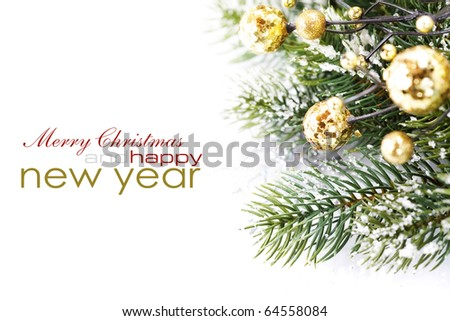 Christmas decoration isolated on the white background with sample text
