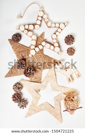 Christmas decoration isolated on white background. Handmade pineal decorations.