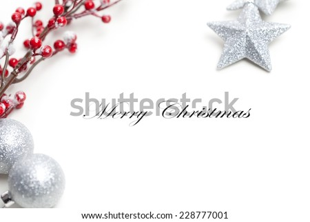 Christmas decoration, Merry Christmas written in the middle. Useful as a christmas card.
