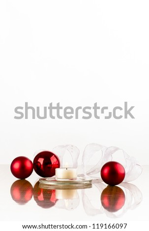 Christmas decoration of red flask white ribbon and a candle on a glossy surface