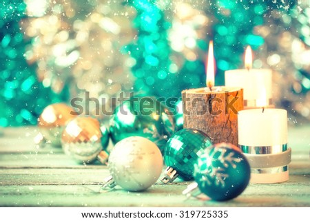 Christmas decoration on abstract background,vintage filter,soft focus - Shutterstock ID 319725335