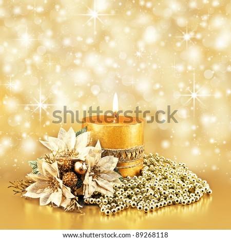 christmas decoration on golden bokeh background - stock photo