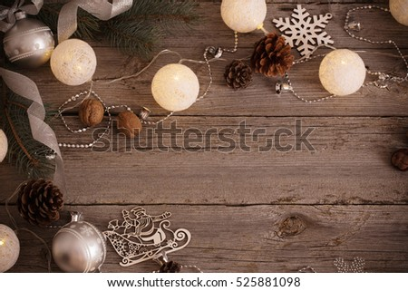 Christmas decoration on old wooden background #525881098