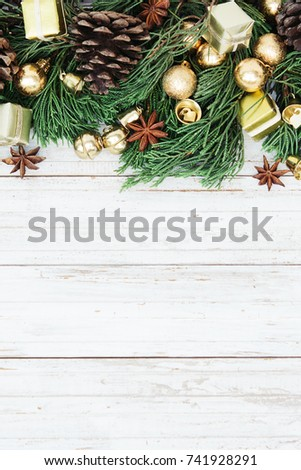 Christmas decoration on the wooden vintage background.  New year greeting card template. Holiday mock up. Scandinavian style. #741928291