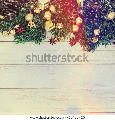 christmas decoration on the wooden vintage background new year greeting card template holiday mock