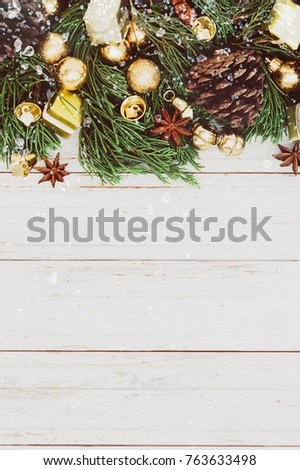 Christmas decoration on the wooden vintage background.  New year greeting card template. Holiday mock up. Scandinavian style. #763633498