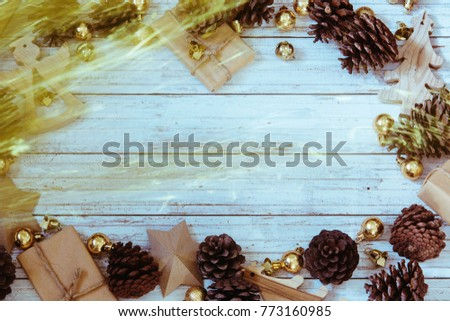 Christmas decoration on the wooden vintage background.  New year greeting card template. Vintage effect. Scandinavian style. #773160985