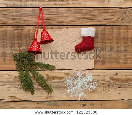 Christmas decoration on the wooden wall