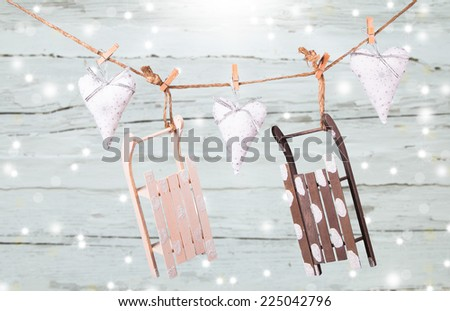 Christmas decoration on wood plant with snow and snowflake #225042796
