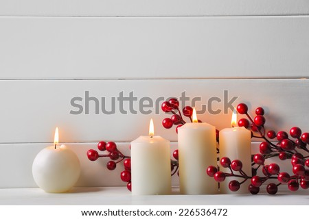 Stock Photo Christmas decoration on wooden background