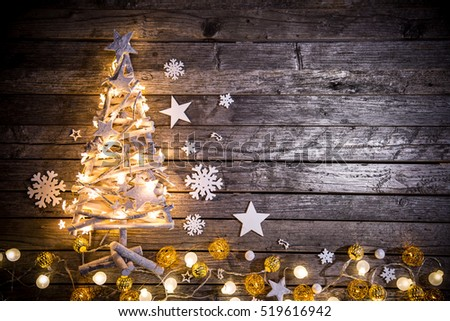 Christmas decoration on wooden background, close-up. #519616942