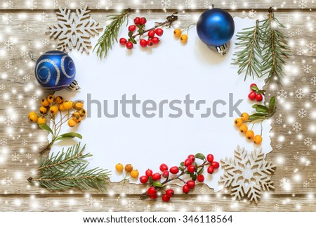 Christmas decoration on wooden boards. Christmas Card
