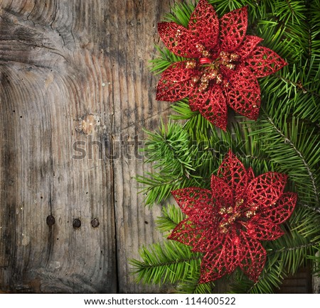 Christmas decoration on wooden plank