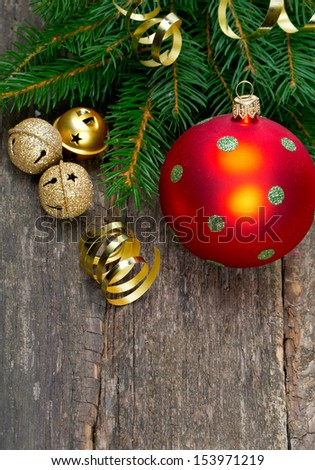 Christmas decoration on wooden surface