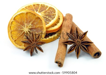 christmas decoration, orange and cinnamon, isolated on a white background