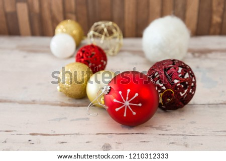 christmas decoration ornament on the wooden table